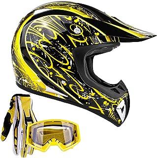 Typhoon Adult ATV MX Helmet Goggles Gloves Gear Combo Yellow Splatter (XXL)