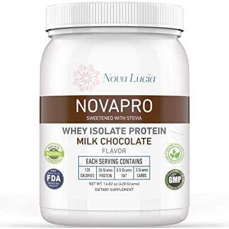 Whey Isolate Protein Powder Chocolate Meal Replacement Supplement for Lean Muscles 100% Low Cholesterol & Calorie-Low Carb Powder, Non-GMO, Lactose, Gluten Free Women & Men 14.82 oz
