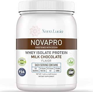 Whey Isolate Protein Powder Chocolate Meal Replacement Supplement for Lean Muscles 100% Low Cholesterol & Calorie-Low Carb...