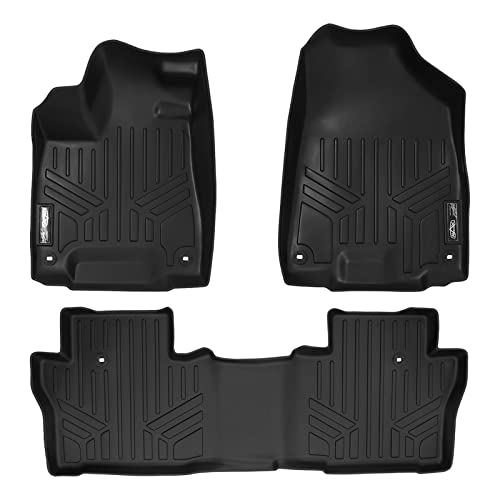 SMARTLINER Floor Mats 2 Row Liner Set Black for 2016-2019 Honda Pilot