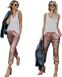 ad8631795897f0 Withchic Womens Spakle Sequin Punk Style Crop Jogger Pants