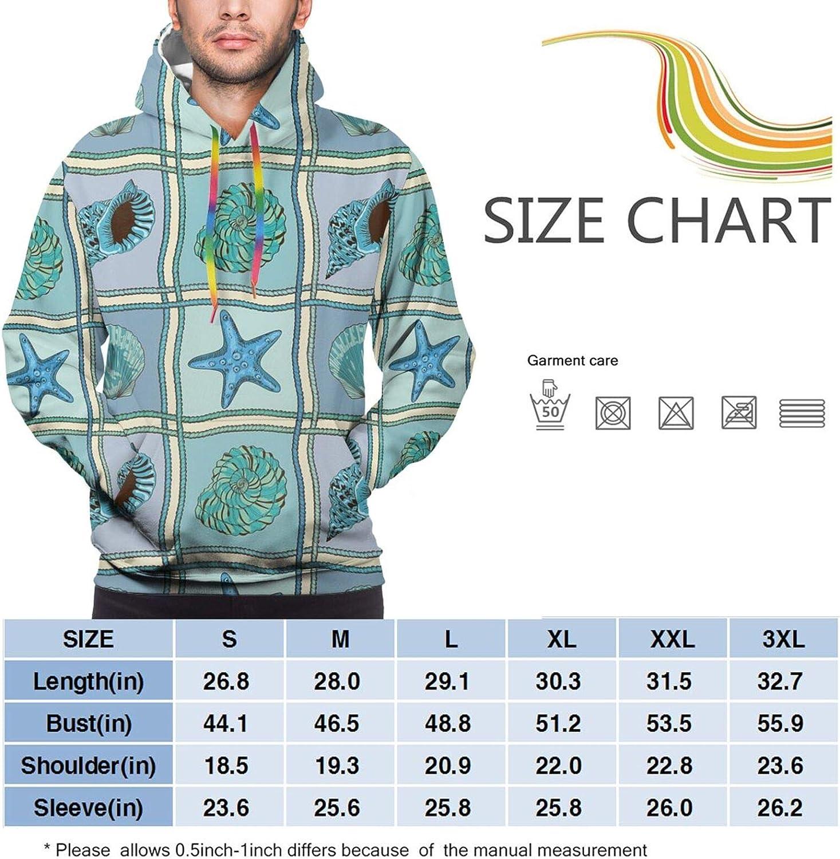 TENJONE Men's Hoodies Sweatshirts,Marine Patchwork Style Inspired Pattern with Ropes Starfishes and Seashells Print