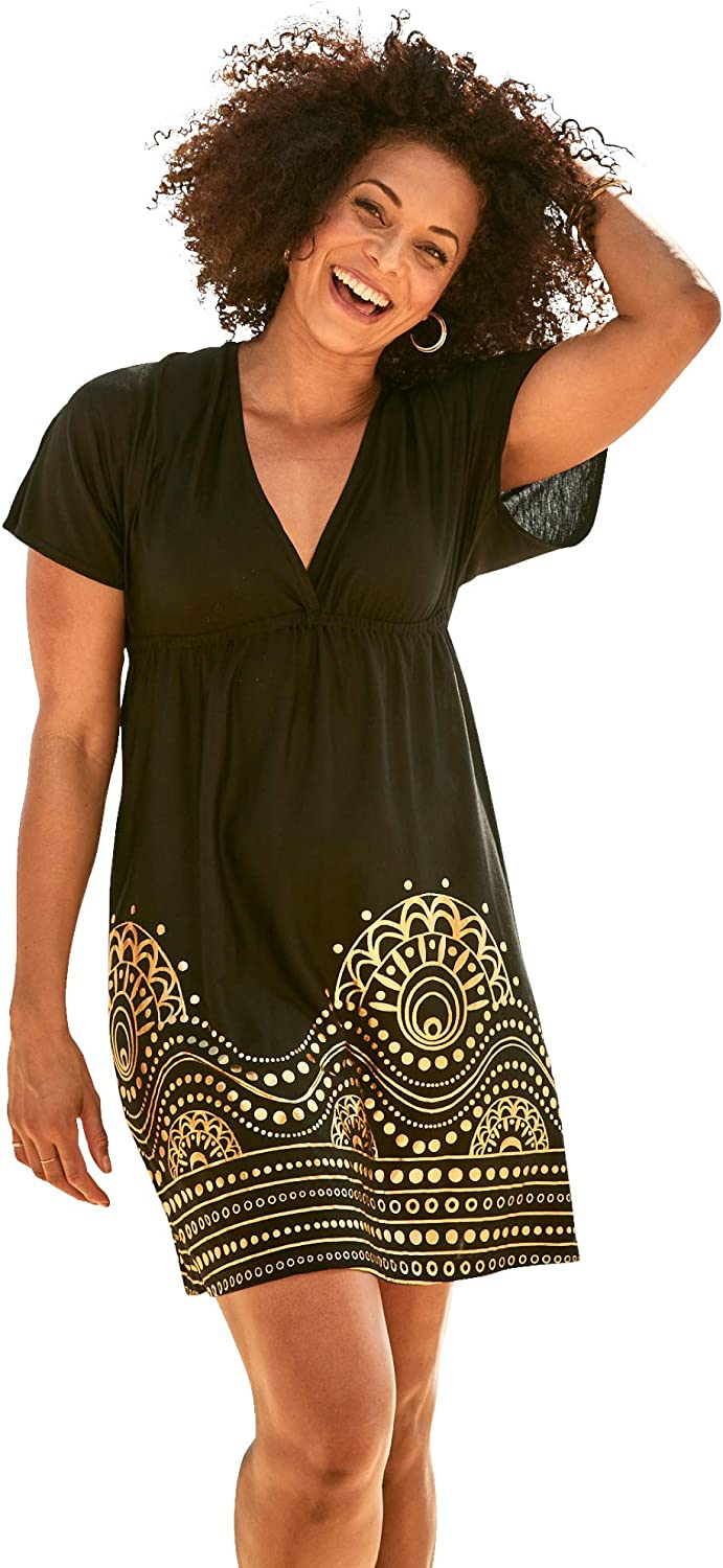 Swimsuits For All Women's Plus Size Foil-Print Swim Cover Up Swimsuit