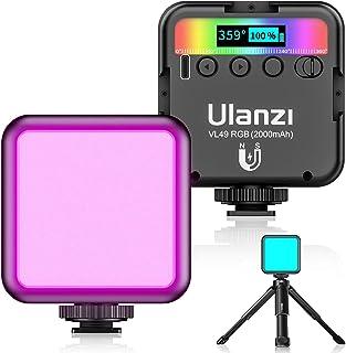 最新 Ulanzi VL49 RGB撮影ライト+三脚付き LEDビデオライト 卓上スタンド 359色RGBモード 明るさ調整が可能 9000k明るい白色光 2000mAh USB充電式 iphone/Gopro/Osmo Pocket/Sams...