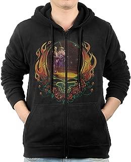 Men's Grateful Band Dead Native American Zip-Up Hooded Sweatshirt Jackets Black