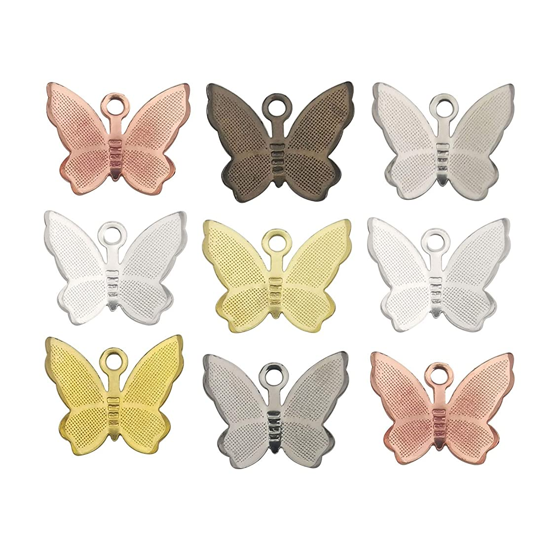 iloveDIYbeads 100Pcs Craft Supplies Brass Mini Mixed Butterfly Pendants Charms for Jewelry Making Crafting Findings Accessory for DIY Necklace Bracelet M256