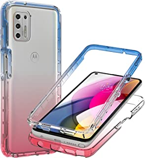 CoverON Gradient Design Designed for Motorola Moto G Stylus 2021 Case, Clear Full Body Rugged Phone Cover - Blue/Pink