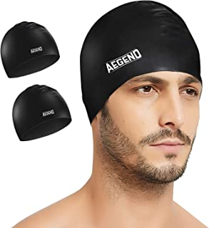 aegend 2 Pack Swim Caps, Durable Silicone Swimming Caps for Long Hair Short Hair, Adult Youth Women Men, 4 Colors