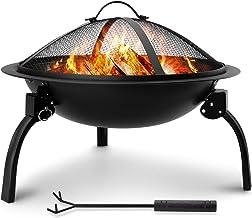 Amagabeli Portable Folding Fire Pit Outdoor Wood Burning 22in Firebowl Fireplace Poker Spark Screen Retardant Mesh Lid Dee...