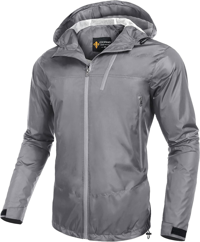 COOFANDY Men's Lightweight Outdoor Waterproof Rain Jacket Packable Hooded Sports Raincoat Grey XX-Large