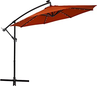 PHI VILLA 10ft Offset Hanging Umbrella with 32 PCS LED Lights Solar Powered Patio Umbrella with Crossbase, 8 Ribs, Orange Red
