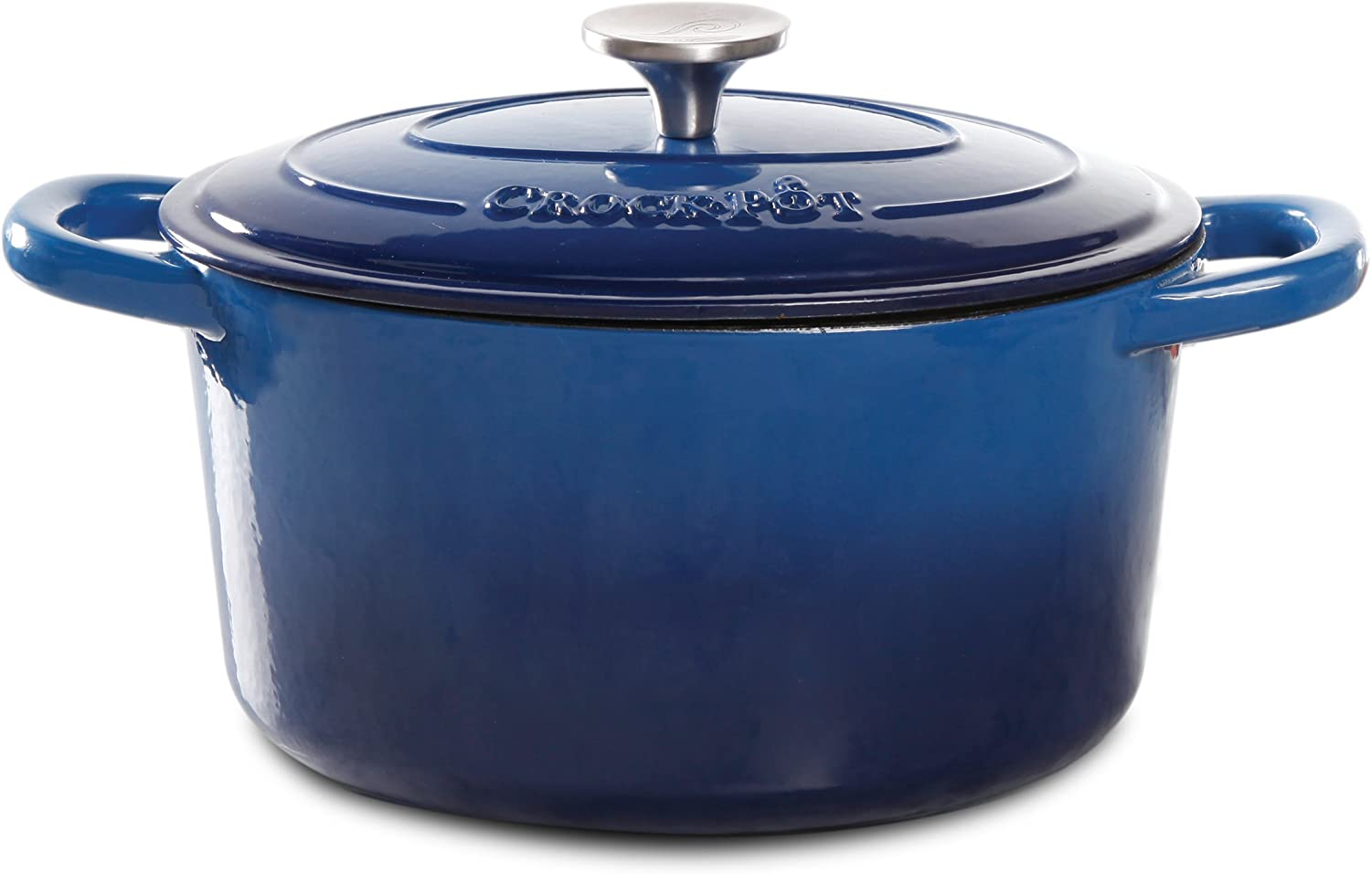 Crock Pot 69145.02 Artisan 7 Quart Enameled Cast Iron Round Dutch Oven, Sapphire bluee