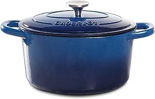 Crock Pot Artisan 7 Quart Enameled Cast Iron Round Dutch Oven, Sapphire Blue