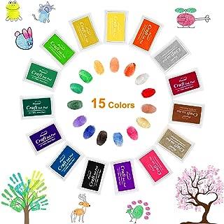 Ink Stamp Pads, Roysmart Craft Ink Pad Stamps Partner DIY Color, Craft Ink Pad for Rubber Stamps, Paper, Scrapbooking, Wood Fabric, Best Gift for Kids (15 Pack)