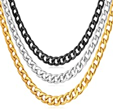 U7 Men Women Miami Cuban Chain with Customized Stamp Service 5/7/9/12/15mm Wide Stainless Steel 18K Gold Plated Curb Necklace, Length 14