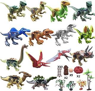 HYOUNINGF Dinos Toy,(14+23) Dinosaur Building Blocks Figures with Movable Jaws , Dinosaur Scene Configuration Set