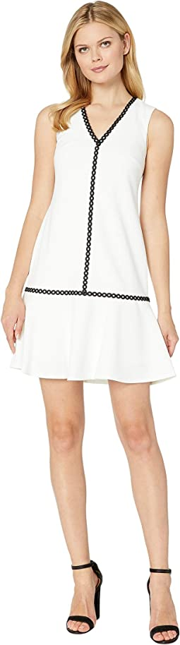 Ruffle Hem Dress with Piping Trim Detail