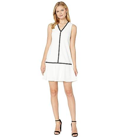 Calvin Klein Ruffle Hem Dress with Piping Trim Detail (White) Women