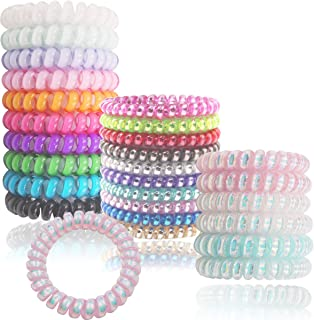 DeD 26 Pcs Spiral Hair Ties No Crease, Candy Colors Spiral Telephone Fluorescent Hair Ties Elastics Accessories for Women Girl