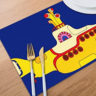 Bghnifs Yellow Submarine Placemats Table Mats Set of 6 Washable Non Slip Heat Insulation Place Mats Dining Room Kitchen Decor 12 X 18