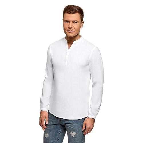 089fa3d4 oodji Ultra Men's No Collar Linen Shirt