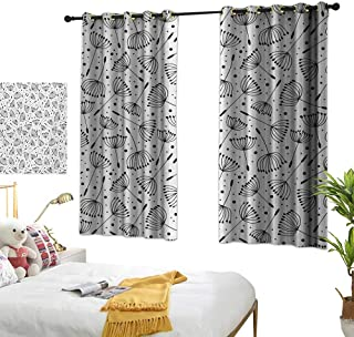 Bedroom Curtain W55 x L63 Floral,Cute Dandelion Flowers Nature Environment Fuzz Organic Fluff Artsy Illustration,Black White Living Room Dining Room Kids Youth Room Window Drapes