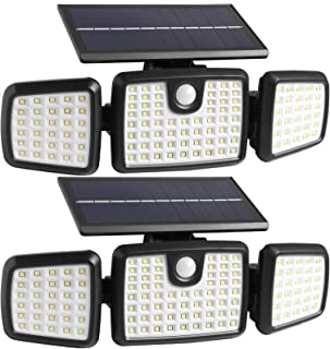 Solar Lights Outdoor, 176 LED Wireless Led Solar Motion Sensor Lights Outdoor, 3 Heads 270. Wide Angle with 3 Lighting Mod...
