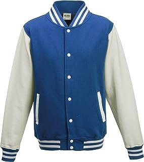 AWDis Unisex Varsity Style Jacket Royal Blue/White Small