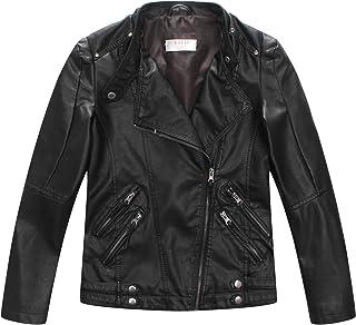 LJYH Boys Casual Faux Leather Moto Jacket Coats Kids Outerwear