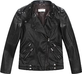 Boys Casual Faux Leather Moto Jacket Coats Kids Outerwear