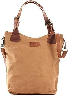 LECONI Henkeltasche Echtleder Vintage-Look Damentasche für Shopping Handtasche für Damen aus Canvas  Leder Shopper mit Trageriemen Beuteltasche für die Arbeit, Büro oder Alltag 34x35x10cm LE0054-C