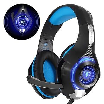Beexcellent GM-1, Cuffie Gaming con microfono Cuffie da Gioco Bass Stereo per PS4 Auricolari Xbox One con LED Cancellazione del rumore Controllo Volume per PC MAC Laptop Tablet, Nero/Blu