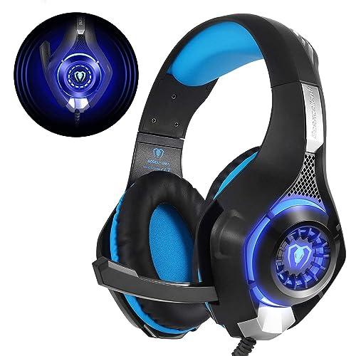 Beexcellent  GM-1 Casque Gaming PS4, Casque Gamer avec Micro Premium Anti Bruit Audio Stéréo Basse avec LED Lampe Jeux Vidéo Gaming Compatible pour PC Xbox One Laptop Tablette