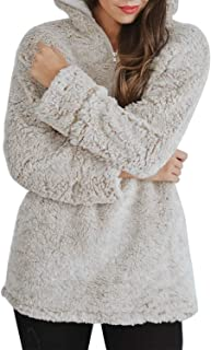 Women's Autumn Winter Long Sleeve Zipper Sherpa Fleece Sweatshirt Pullover Jacket Coat