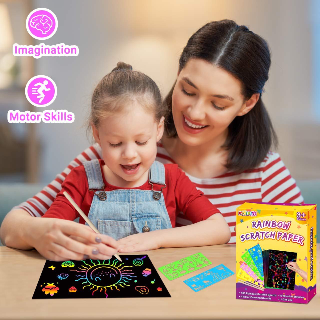 pigipigiRainbowScratchPaperArt -109PcsMagicScratchOffCraft Kit for Kids Color Drawing Note Pad Supply forChildrenGirlsBoysDIYPartyFavorGameActivityBirthdayChristmasToyGiftSet