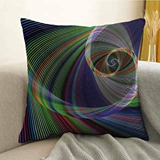 Antony Petty Fractal Bedding Soft Pillowcase Dynamic Spiral Digital Background Energy Motion Swirl Artful Modern Illustration Hypoallergenic Pillowcase W18 x L18 Inch Green Purple