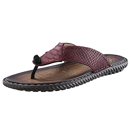 a01660c8ead norocos Men s Classical Comfortable Flip Flops Rubber Slippers Casual  Leather Sandals