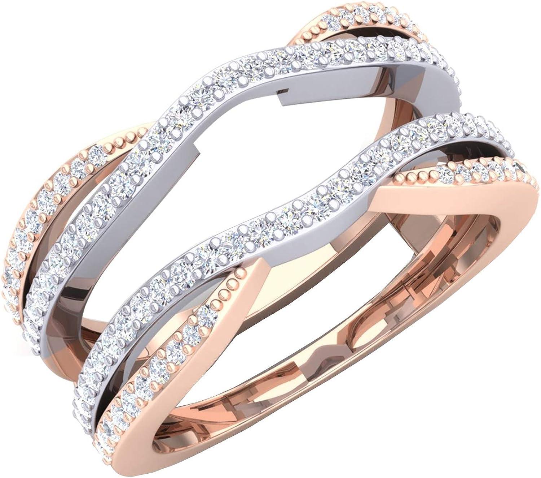Dazzlingrock Collection 0.50 Carat (ctw) 14K White & Two Tone Diamond Wedding Band Enhancer Guard Double Ring 1/2 CT, Rose Gold