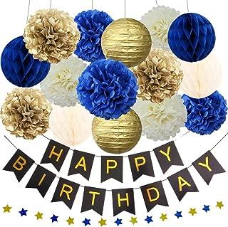 Navy Blue Gold Birthday Baby Boy Shower Party Decoration Kit - Happy Birthday Banner, 12