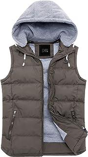 ZSHOW Men's Lightweight Winter Gilets Outdoor Windproof Vest Cotton Padded Gilets Hooded Sleeveless Vest