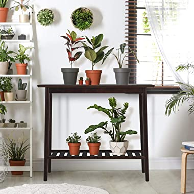 """Console Table Nnewvante Mid Century Modern Bamboo Entryway Sofa Table with Shelf for Entry Hallway Living Room 37.4"""" Long"""