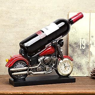 N-B Support de Support de Bouteille de vin de résine de modélisation de Moto créative avec Horloge, décoration de Bureau d...