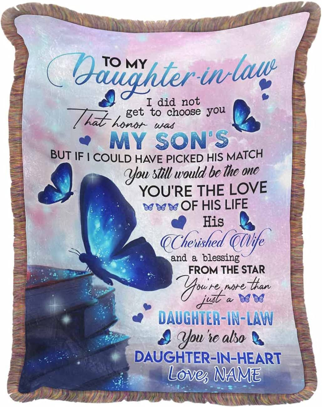 Personalized Blanket with Fringe to Daughter-in-Law Max 59% OFF You're My A Low price