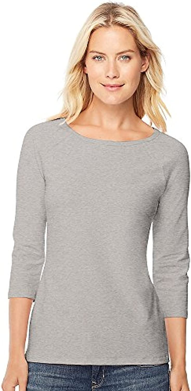 Hanes Stretch Cotton Women's Raglan Sleeve Tee Grey Heather