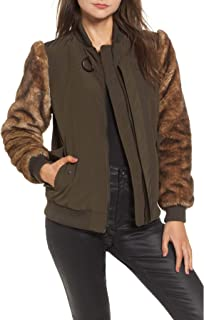Kendall + Kylie Women's Faux Fur-Sleeve Bomber Jacket Olive XS