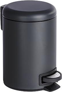 WENKO Poubelle cosmétique à pédale Leman noir - Poubelle cosmétique à pédale Capacité: 3 l, Acier, 17 x 25 x 22.5 cm, Noir