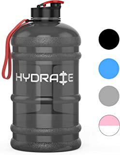hydrate 1.3/2.2 Litre Water Bottle - Half Gallon Jug with Flip Cap - BPA Free - Big Gym Bottle, Ideal for Dieting, Bodybuilding, Outdoor Sports, Hiking & Office