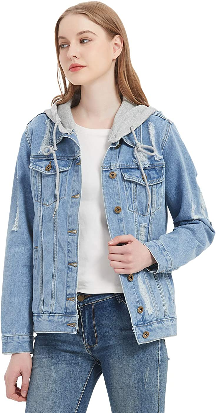 Anna-Kaci Women's Detachable Hoodie Denim Jacket Ripped Distressed Oversized Jean Coat W Pockets