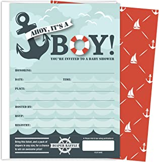 Koko Paper Co It's A Boy Nautical Baby Shower Invitations with Tear-off Diaper Raffle Tickets. 25 5x7 Fill in the Blank Style Invites with White A7 Envelopes.