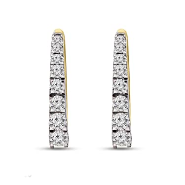 Pendientes de aro con diamantes cultivados en laboratorio IGI de oro amarillo y blanco de 1/2 quilate de diamantes creados en laboratorio para mujeres (1/2 CTTW, color GH, joyas de diamantes de claridad SI1 para mujeres)